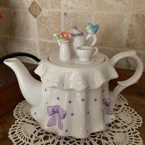 Vintage Teleflora Tea Party Teapot w/Blue Bird